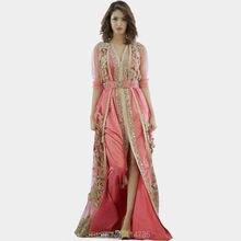 Top Quality Caftan Marocain Islamic Abaya in Dubai Evening Dress Pink Long Sleeve Evening Gowns Moroccan Kaftan