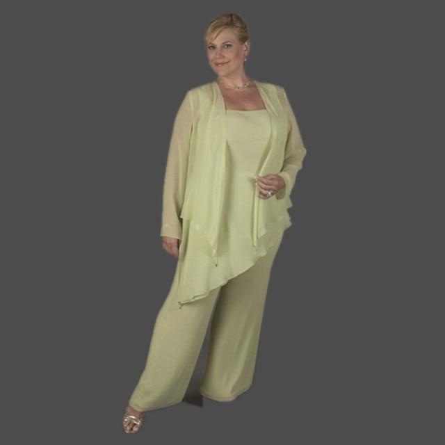 Long Mother of the Bride Pant Suits plus size pantalon boda Chiffon ...