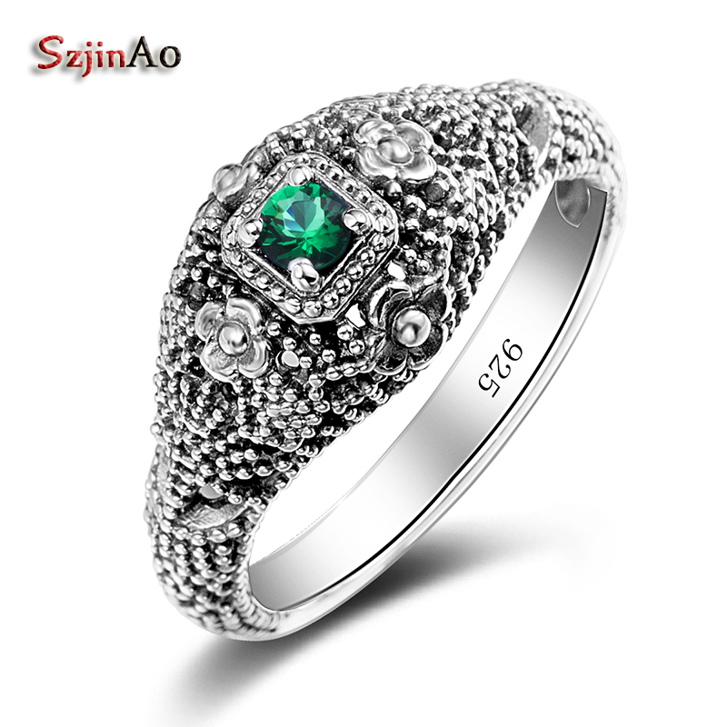 Szjinao Holy Bague 3ct Russian Flower Emerald Ring 925 Solid Sterling Silver Set Bohemia Best Brand Jewelry For Women classic 10 75ct nano russian emerald ring emerald cut solid 925 sterling silver ring set best brand fine jewelry for women