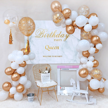 Золотой блестящий белый тематический свадебный комплект для дня рождения, Детская идея для вечеринки, детский душ, баллон, украшения золотого фона