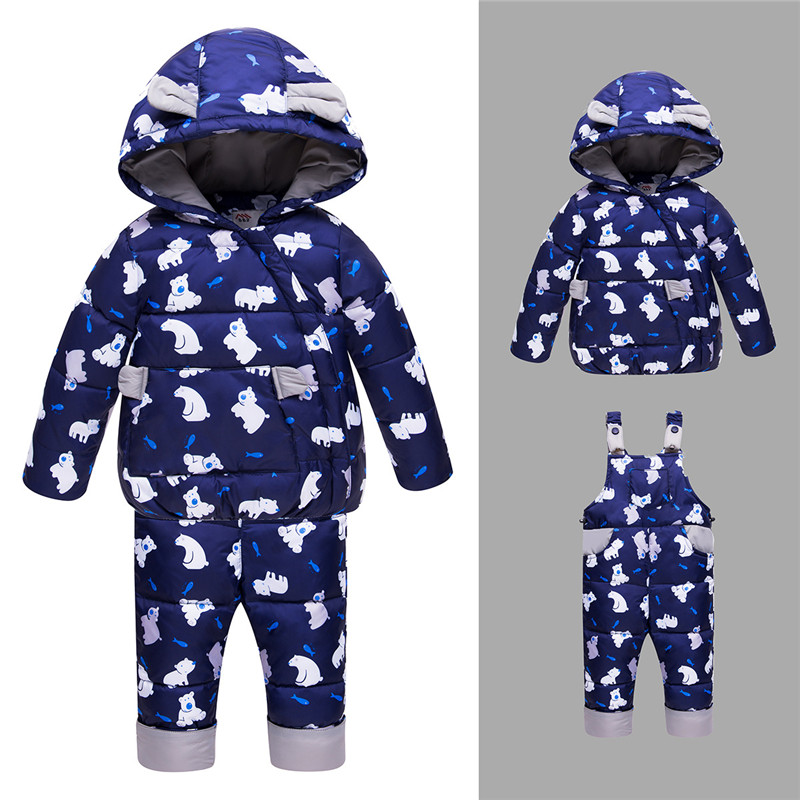 все цены на YorkZaler Winter Kids Clothes Duck Down Jacket Set for -30Degree 2PCS Warm Hooded Down Jacket+Romper Children Snowsuit Outerwear онлайн