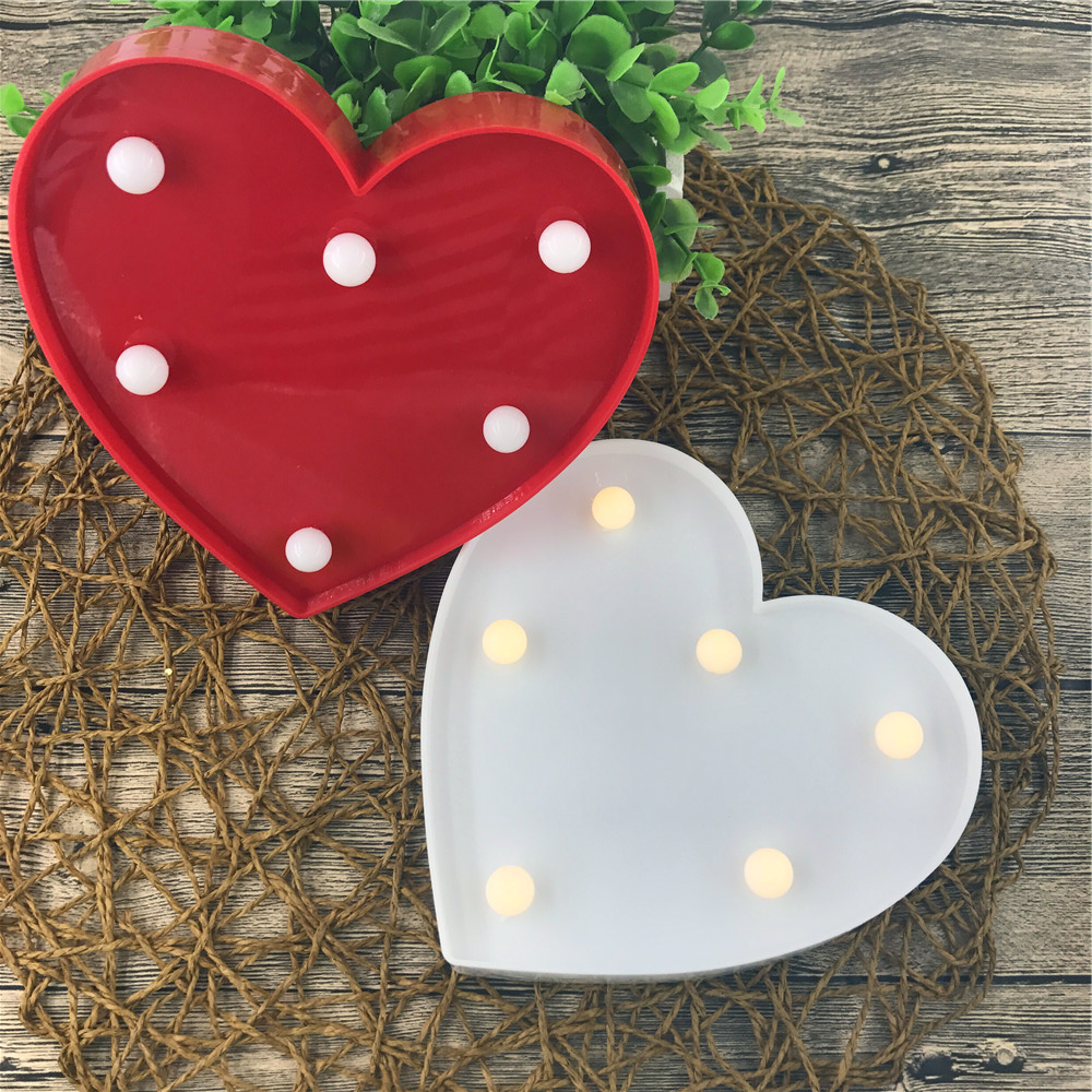 Lovely Romantic Heart Shape LED Night Light Wedding Christmas Festival Party Bedroom Decoration Children Gifts Battery Operated