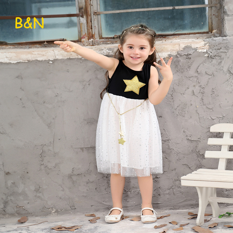 B&N 2018 Kid Pageant Formal Dress Summer Sequins Party Princess Girl Dress Printing Star Sleeveless Girls Clothes