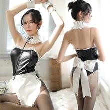 Frauen Uniform Versuchung Sexy Leder Nette Mädchen Maid Uniform Cosplay Großen Bogen Kleid Rolle-Spielen Spiel Anzug 3PCS kein trumpf