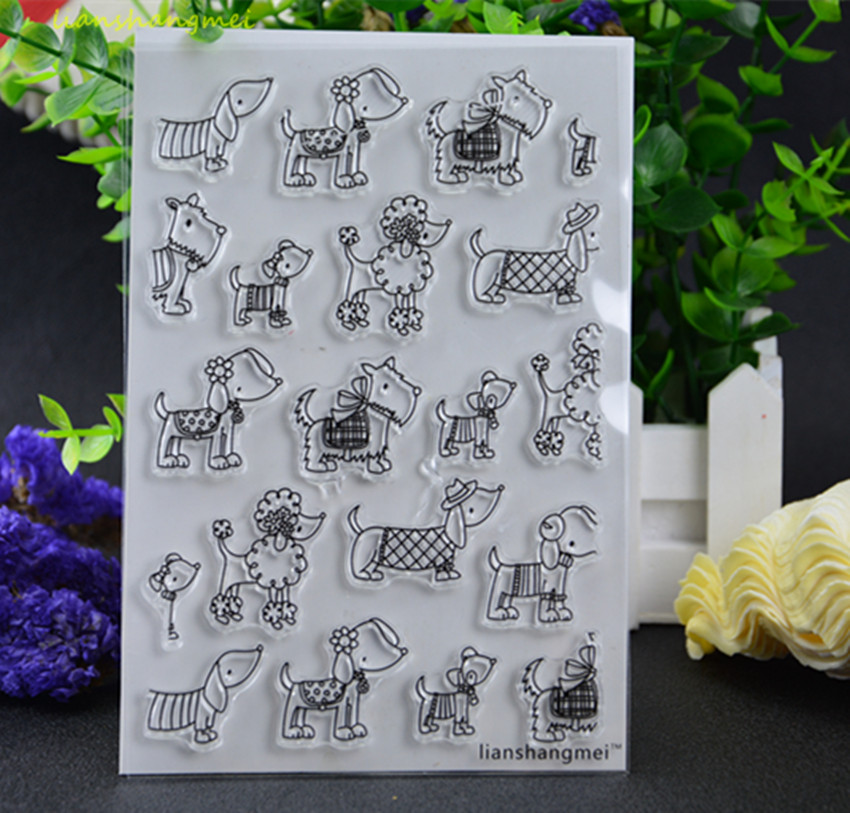 Many lovely dogs Transparent Clear Silicone Stamp/Seal for DIY scrapbooking/photo album Decorative clear stamp lovely elements transparent clear silicone stamp seal for diy scrapbooking photo album decorative clear stamp sheets
