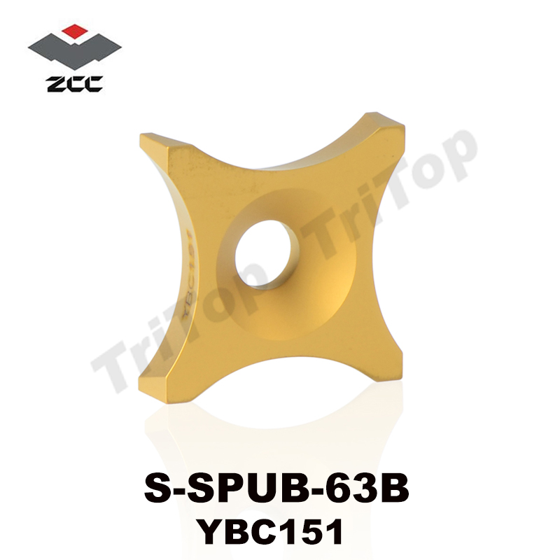 Free Shipping 10pcs/Pack Original ZCC.CT S-SPUB-63B YBC151 Cemented Carbide Burring Insert Cutter Chip Removing Steel Tube Pipe