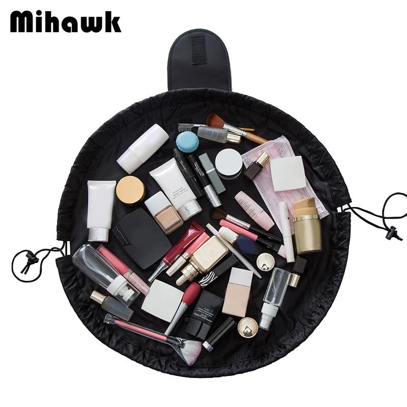 Mihawk Solid Color Shrink Drawstring Large Capacity Cosmetic Bag Travel Multifunction Storage Cosmetics Waterproof Organizer