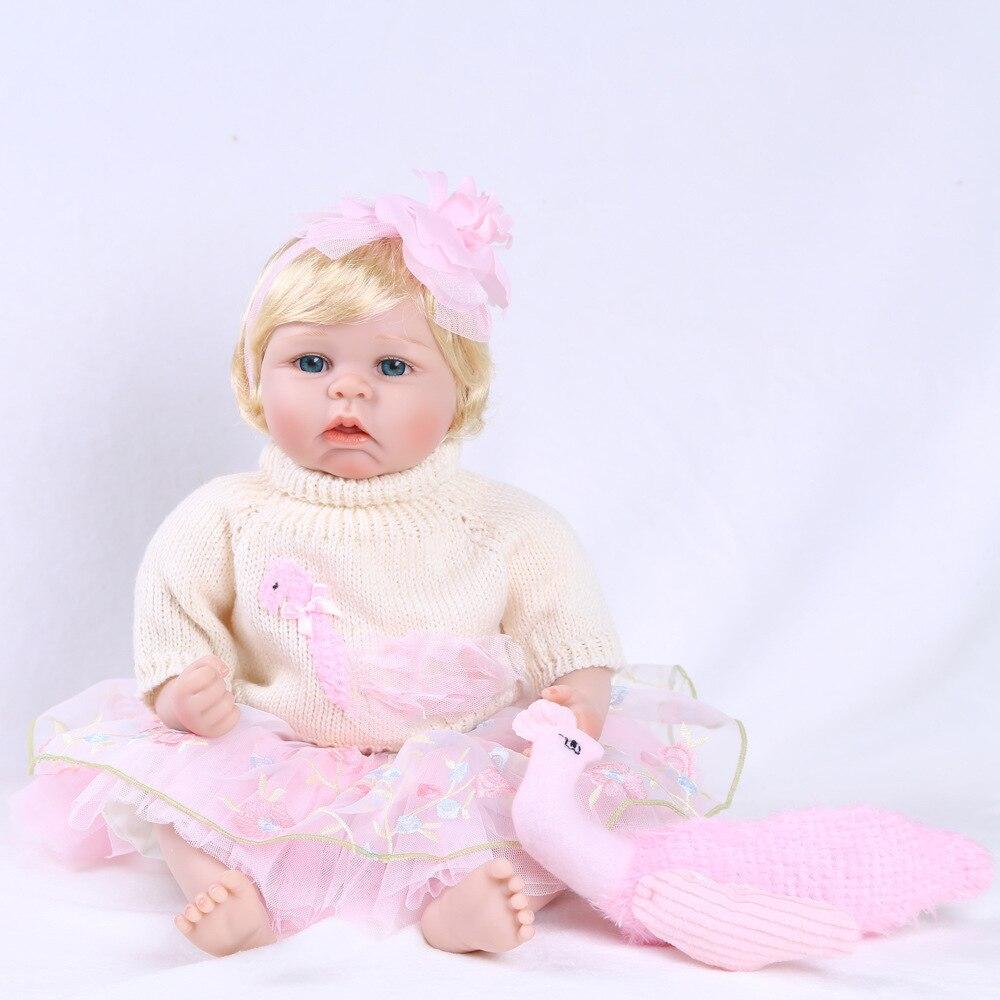 SHINEHENG 55cm Lifelike Gold Hair Princess Reborn Baby Soft Vinyl Doll Kids Toys Girls Bebes De Silicona