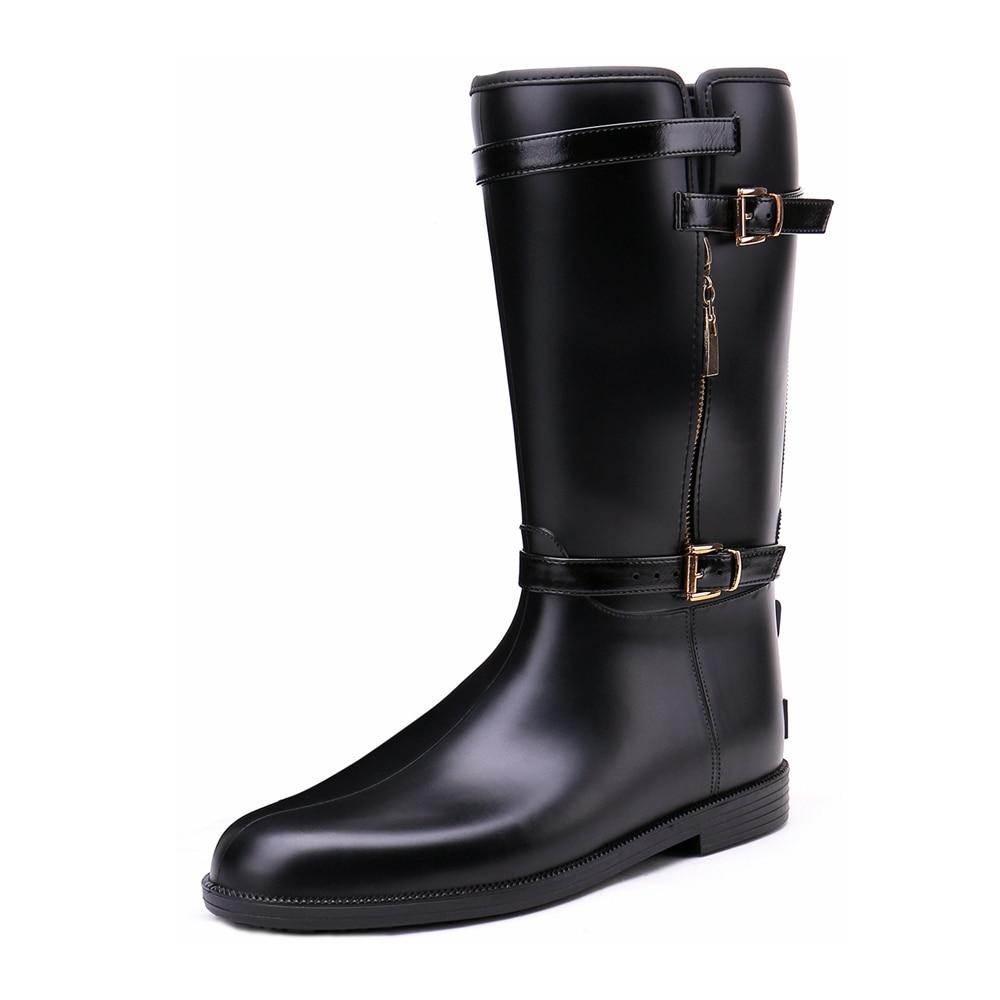 TONGPU Women's Mid-Calf Gumboots Buckle and Zipper Waterproof Black Rain Boots 14-311 рюкзак case logic 17 3 prevailer black prev217blk mid