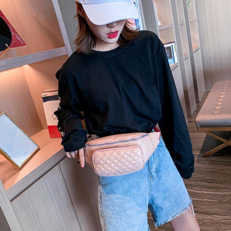Girls Wide Casual Solid Color Zipper Shoulder Crossbody Bags Women Lattice Shoulder Waist Fanny Packs PU Leather Chest Bags
