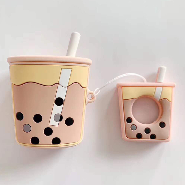For AirPods 2 Case Cartoon Cute Soft Milk Bubble Tea Drink Bottle Earphone Protect Cover For Airpods 2 1 with Finger Ring Strap