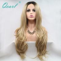 Qearl китайский волос Девы Синтетические волосы на кружеве парик человеческих волос Natural волнистые парики, кружева средняя часть два тона Цве