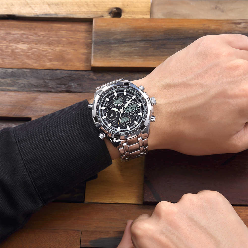 GOLDENHOUR marque de luxe étanche Sport militaire montres hommes argent acier numérique Quartz analogique montre horloge Relogios Masculinos