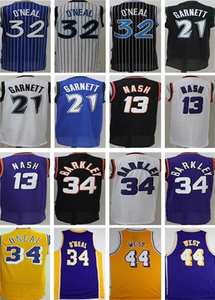 1b56d84b0ce Mens 21 Kevin Garnett 32 Shaquille O Neal 13 Steve Nash 34 Charles Barkley  44 Jerry West BASKETBALL JERSEYS