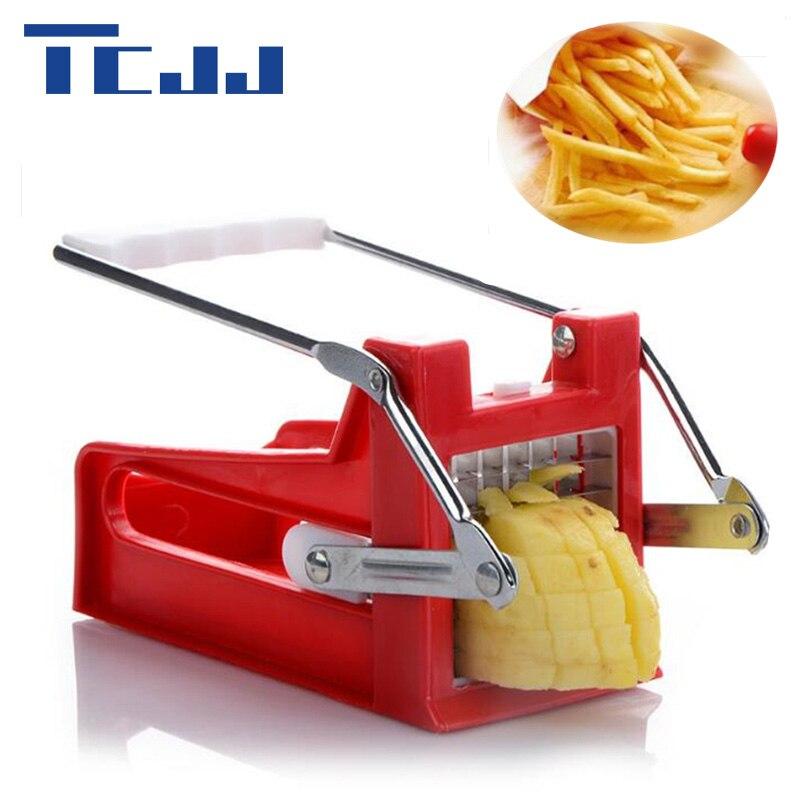 diy household manual stainless steel potato cutter chipper french fries slicer vegetable cutter slicer chopper dicer 2 blades - Vegetable Dicer