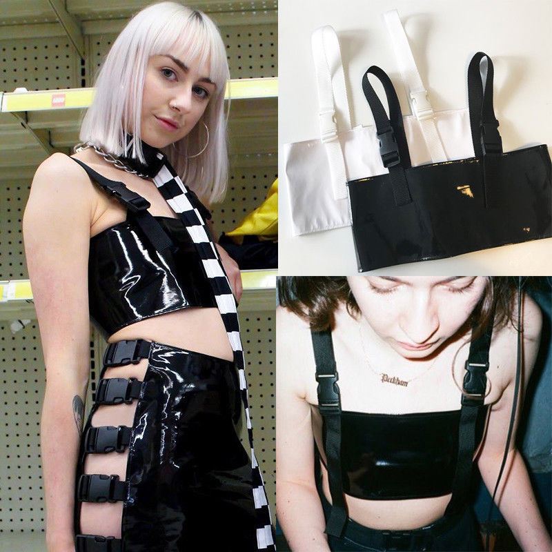 New Sexy Cropped Leather Top Tank Women Summer Black Bralette PU Crop Top Backless Camisole Tops Solid Black Strap Tank Vest
