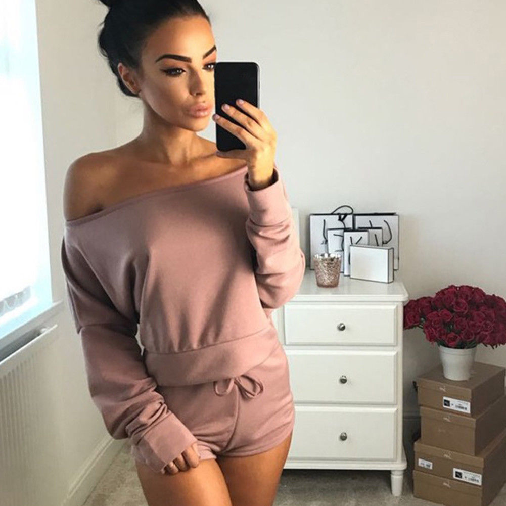 Tracksuit Women Off Shoulder Top Long Sleeve Sweatshirt Short Romper Mini Playsuit Two Piece Set Jumpsuit