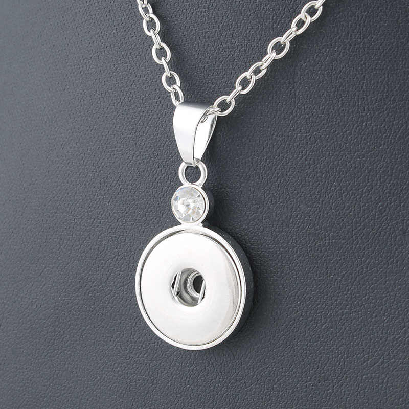 Classic Round alloy 18mm xinnver snap button crystal necklace & pendant jewelry with Bead chain woman DIY jewelry ZG041