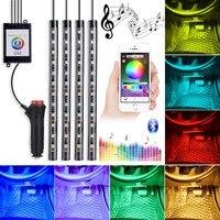4pcs Car RGB LED Strip Light APP LED Strip Lights Colors Car Styling Decorative Atmosphere Lamps