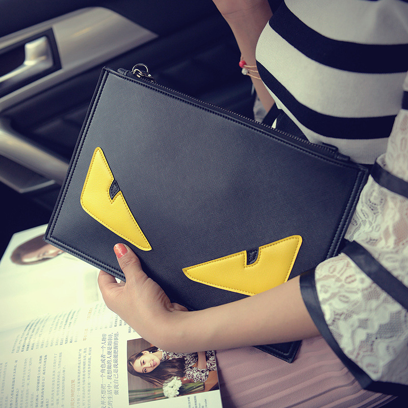 7d417d9e7328 Brand Men Bag Shoulder Messenger Bags PU Leather Male Handbag Leisure  Monster Eyes Day Clutches Envelope Women Clutch Bag Black