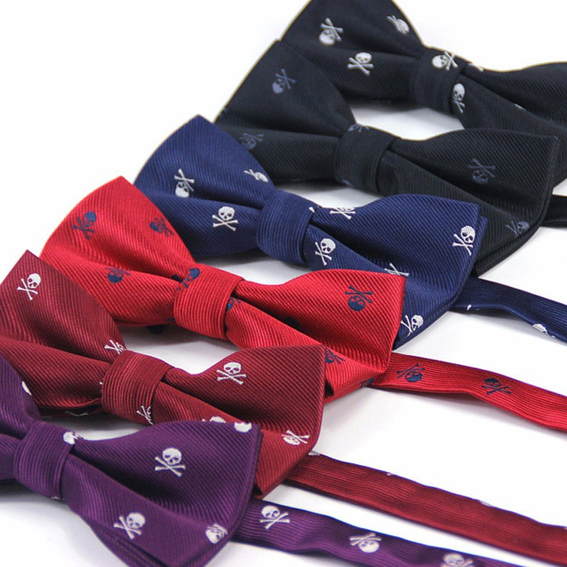 Men Halloween Bowtie Skull Necktie Men's Party Boys Bow Ties Male Shirt Gift