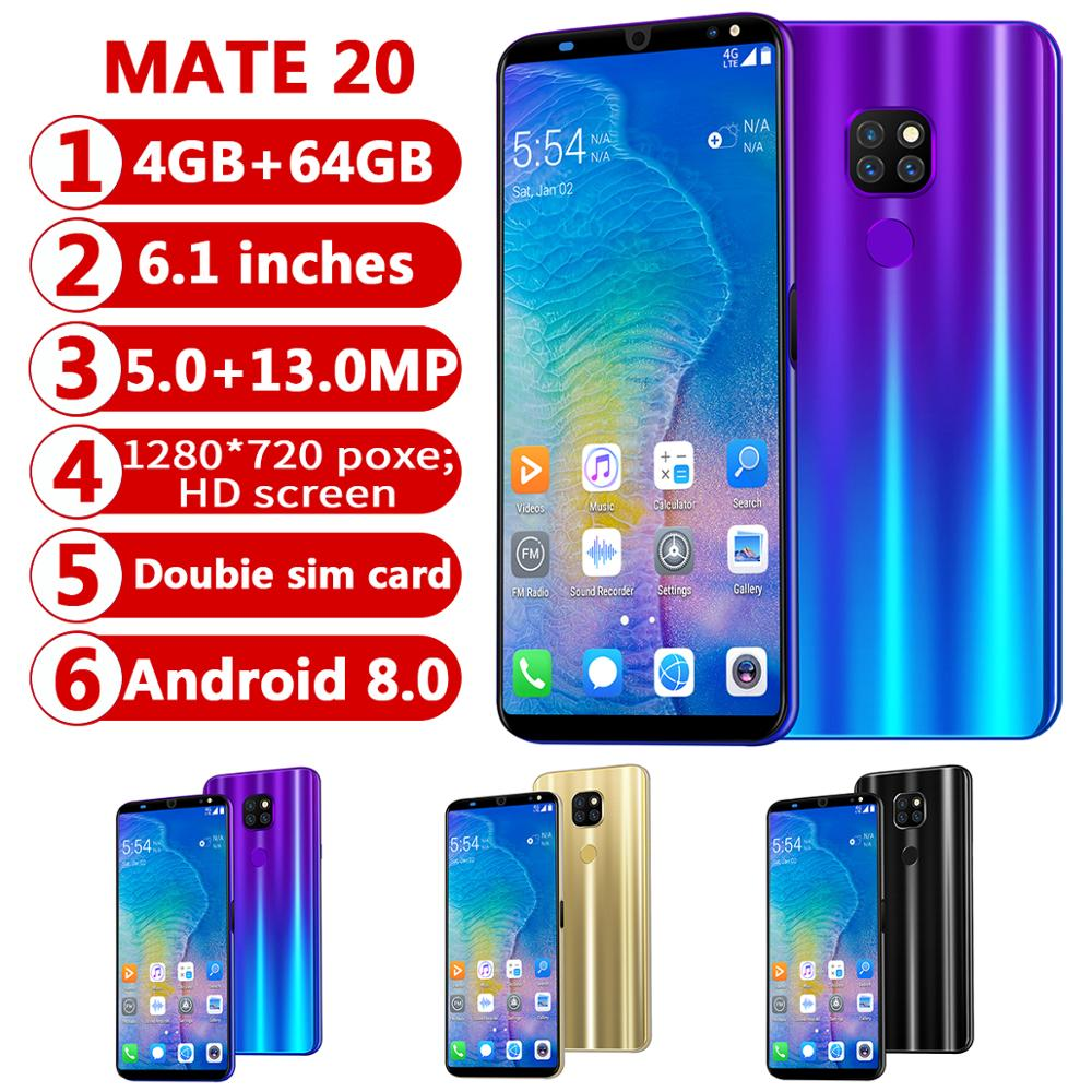 CHAOAI Smart Phone Android 4GB 64GB Mate20 Pro 6 1 Full Screen Smartphone 8 Core Face