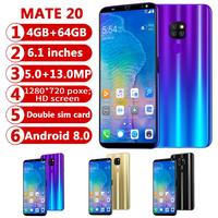 CHAOAI Smart Phone Android 4GB+64GB Mate20 Pro 6.1'' Full Screen Smartphone 8 Core Face Unlock Dual Sim 3g Cell Phone
