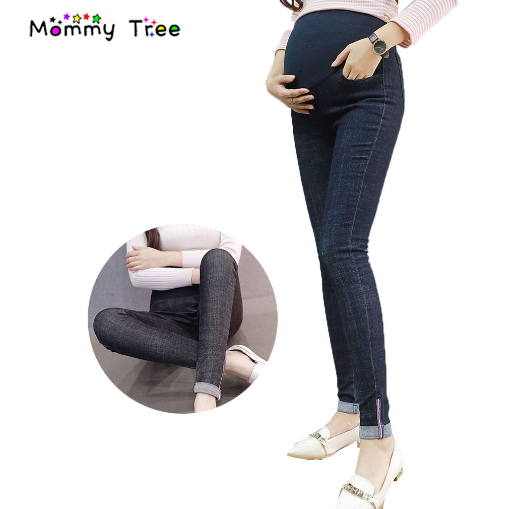 3dca78e1723fb High Waist Maternity Jeans Pencil Pants Female Trousers Abdominal Belly  Care Products for Pregnant Women Pregnancy Clothes