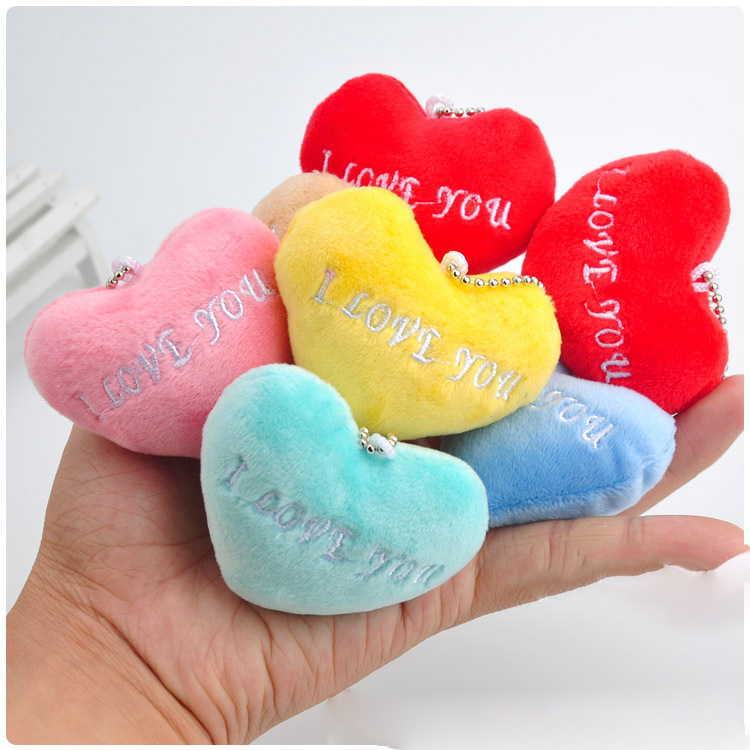 Hot 6CM Kawaii Small  Heart Plush Toys Stuffed Animals Fluffy Heart Soft Kids Toys