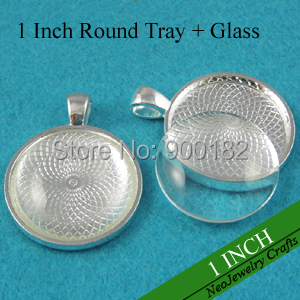 1 Inch Round Pendant Trays 25mm Silver Round Cabochon Setting Blank Pendant Setting Clear Glass Cabochon