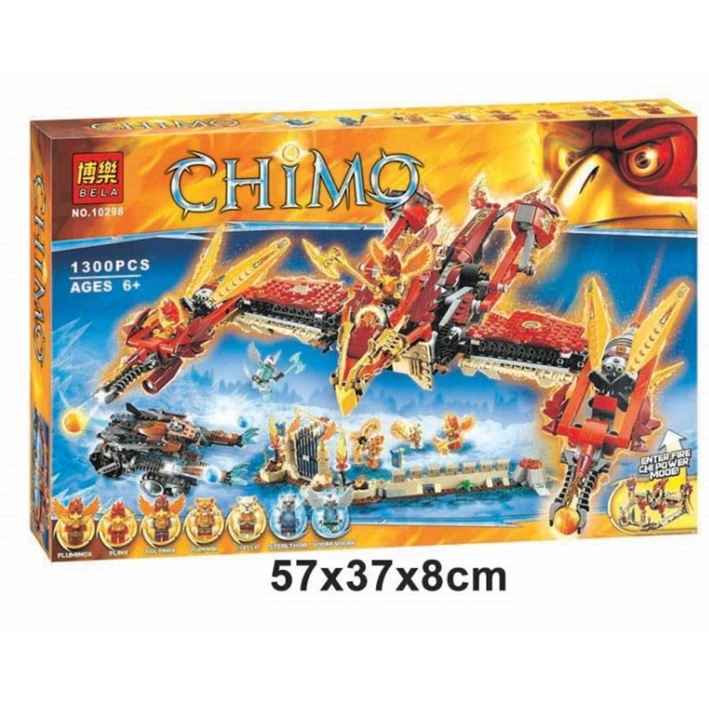Bela 10298 Flying Phoenix Fire Temple 1300pcs Minifigures toys building font b blocks b font for