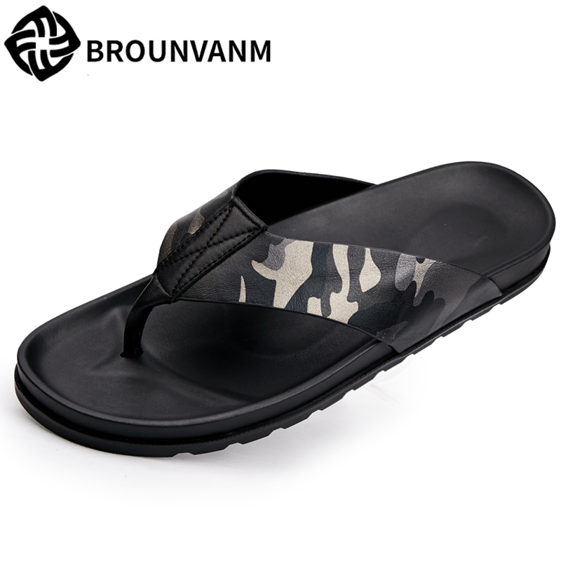5d1b945a63ff 2018 new summer sandals Sneakers Men Slippers Flip Flops Summer men s  Genuine Leather Shoes beach outdoor all-match cowhide