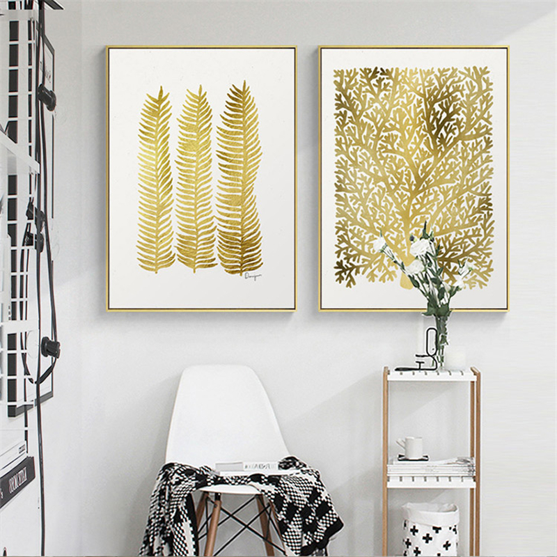 Nordic Lucky Leaf Yellow Fortune Tree Canvas Painting Home Living Room Abstract Hanging Poster Picture Print Scandinavian Decor