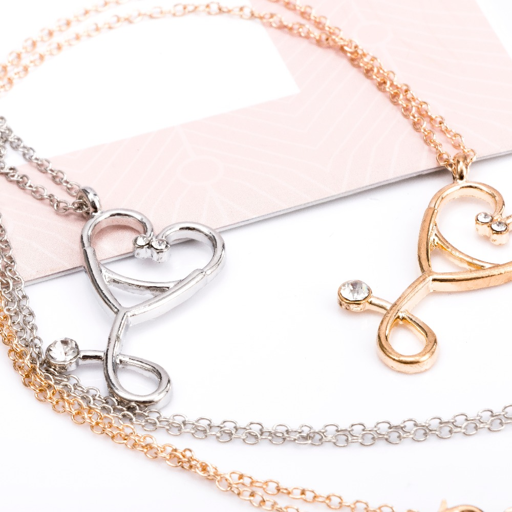 Medical Doctor Nurse ER Stethoscope Heart Charm Pendant Chain Necklace Jewelry