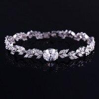 H&F Luxury Romantic Wedding Jewelry Gift white 1 AAA cubic zircon bracelet for women new design hot sale