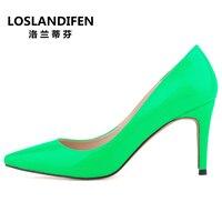 Moda końcówki 8 cm grzywny patentu skórzane buty na wysokim obcasie płytkie usta Stały kolor big size kobieta buty ślubne EUR 35-42