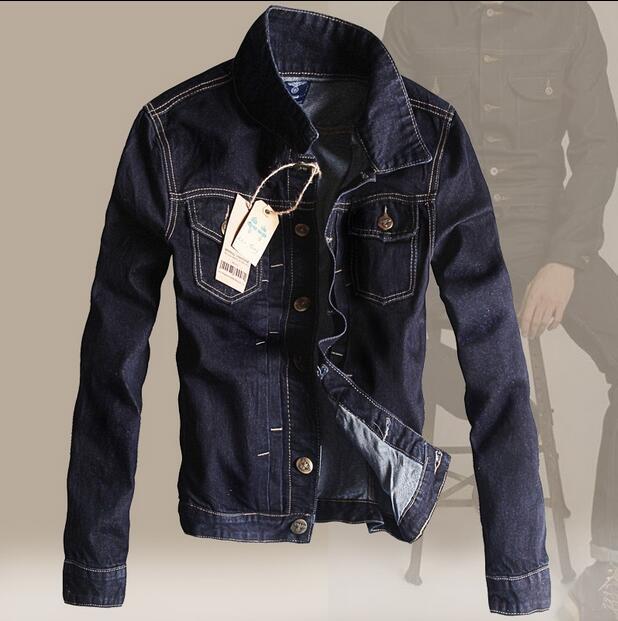 2016 new hot spring autumn Men Jeans Jacket Overcoat Parkas coat Retro short plus size 2XXL cotton Leisure fashion dark blue