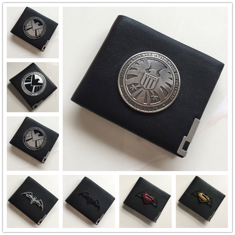 ZSQH Leather Wallets Agents of Shield Metal Badge Hail Hydra Red Skull Pin Case Holder Batman Resident Evil Stars Police Cosplay