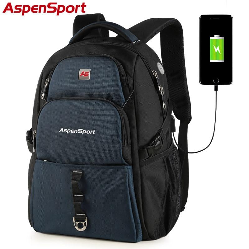 AspenSport 2017 New USB Charge Bag College Backpack Backpack Fashion School Bag for Men Women fit 15-17Inch Laptop Backpack pabojoe women mens school backpack italian 100% genuine leather fashion book bag college daypack black fit 15inch laptop