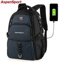 AspenSport 2017 New USB Chargeable Bag College Backpack Backpack Fashion School Bag For Men Women Fit