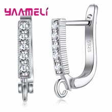 Wholesale 925 Sterling Silver Jewelry Part Charm Hoop Earring For Women Fine Components DIY Jewelry Connector Making cheap YAAMELI 0 01g Connectors 1 5inch causal Metal 0 7inch P22601