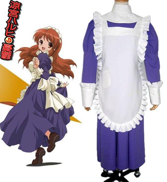 Free Shipping The Melancholy of Haruhi Suzumiya Mikuru Asahina Blue Maid Uniform Cosplay Costume