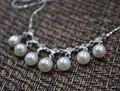 Genuino 7-5mm perlas de agua dulce colgante collar