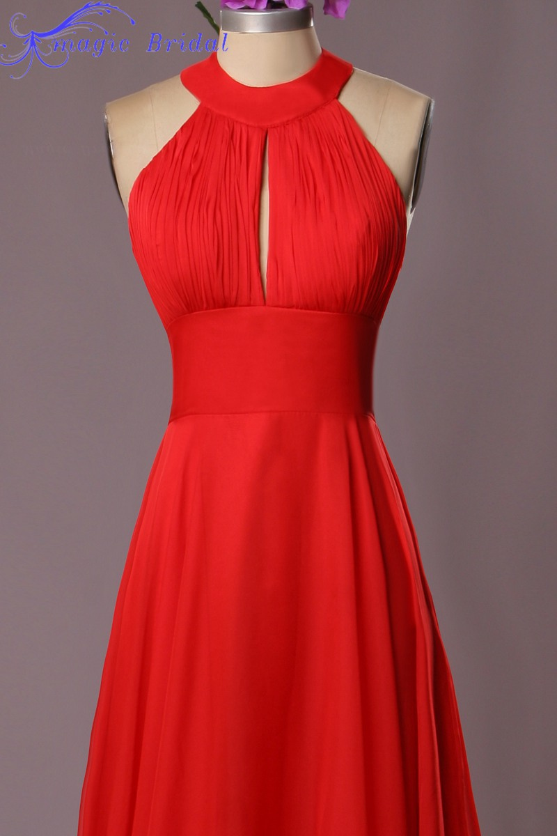 Hot red long chiffon bridesmaid dresses 2016 halter sleeveless hot red long chiffon bridesmaid dresses 2016 halter sleeveless floor length open back summer style wedding party dresses in bridesmaid dresses from weddings ombrellifo Images