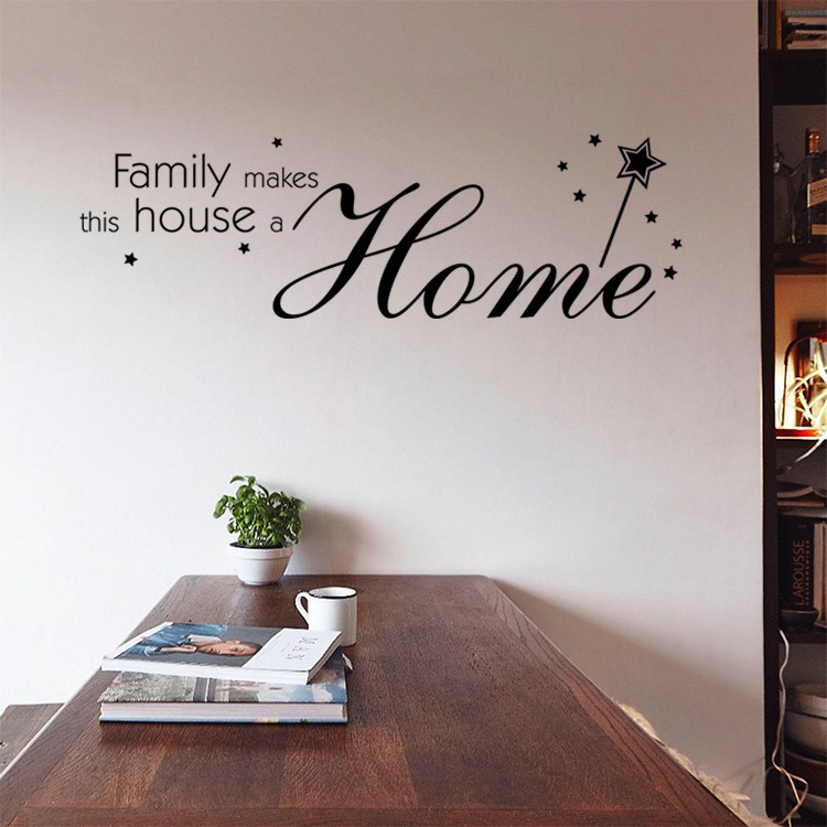 9348 Family Wall Stickers Dining Room Mural Decorations Inspirational Decals Free ShippingChina