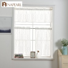 NAPEARL Window Valance and Tiers Geometric Kitchen Rod Pocke