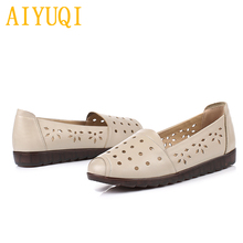 AIYUQI Women flat shoes 2019 new spring and summer genuine leather women shoes,big size 41 42 holes eye mother casual