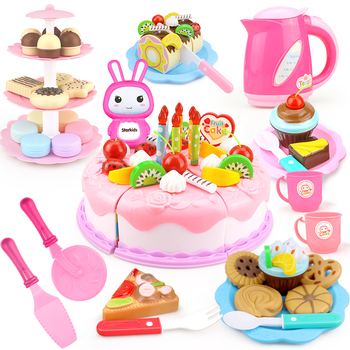 37-103Pcs DIY Pretend Play Fruit Cutting Birthday Cake Kitchen Food Toys Cocina De Juguete Toy Pink Blue Girls Gift for Children 38 80pcs diy pretend play fruit cutting birthday cake kitchen food toys cocina de juguete toy children girls christmas gift toys