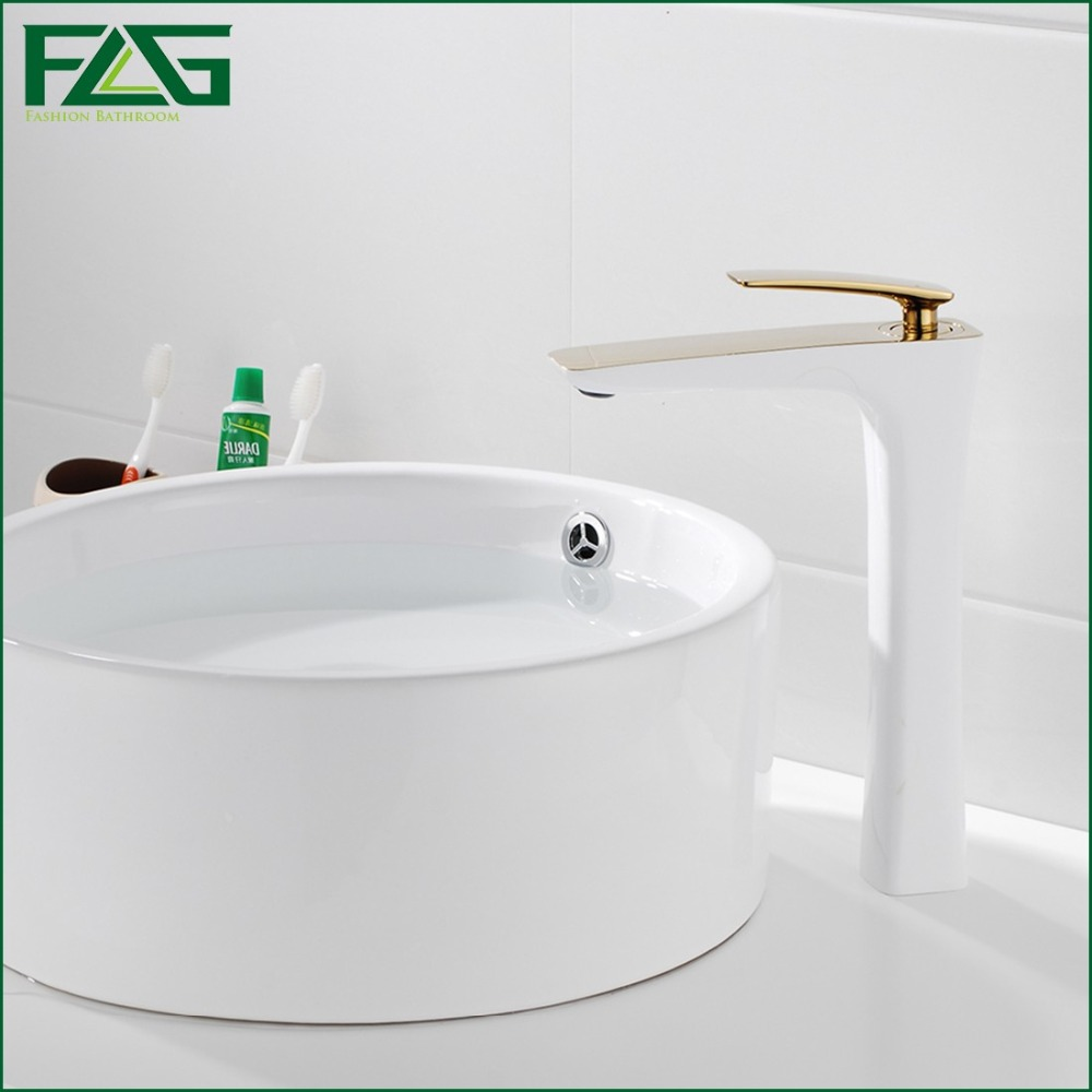 White bathroom faucet - Flg Free Shipping Bathroom Faucet Grilled White Paint Chrome Finish Golden Brass Basin Sink Faucet Mixer