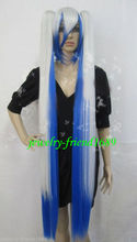 Wholesale heat resistant LY free shipping New wig long cosplay vocaloid blue white Mixed split type
